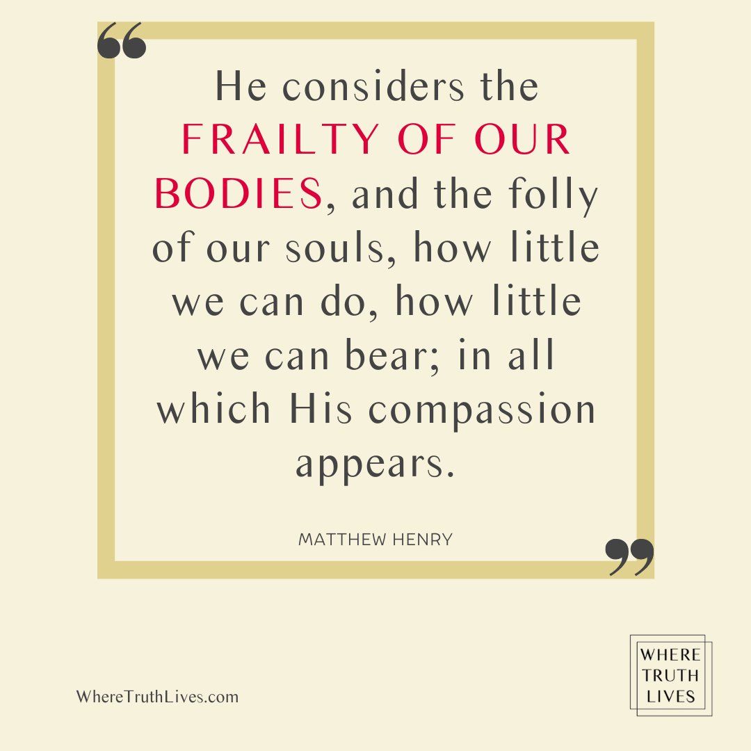 He considers the frailty of our bodies, and the folly of our souls, how little we can do, how little we can bear; in all which His compassion appears. - Matthew Henry quote
